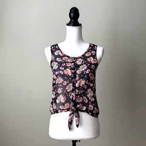 LUSH | Floral Print Tie Front Sheer Top
